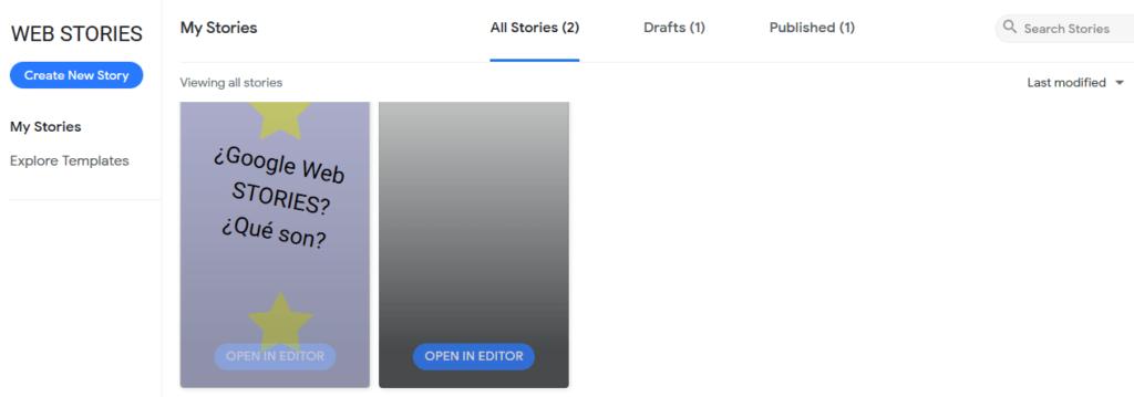 dashboad google web stories